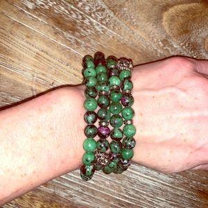 Ruby Zoisite stretch bracelets